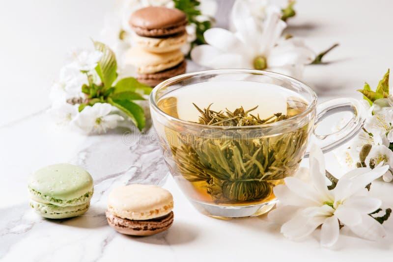 Tè con i fiori della molla immagini stock libere da diritti
