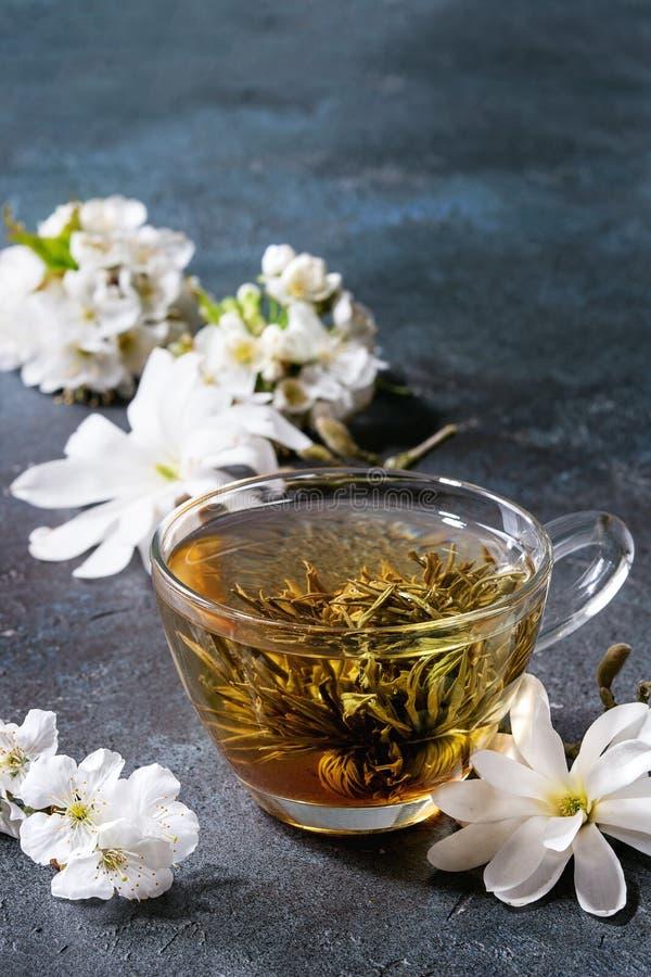 Tè con i fiori della molla immagini stock