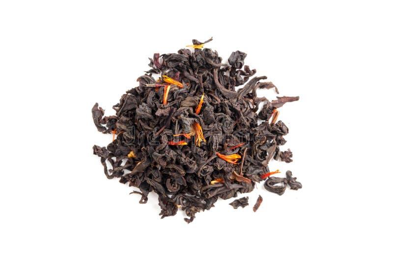 Tè con i petali dell'ibisco e del cartamo isolati su bianco fotografia stock