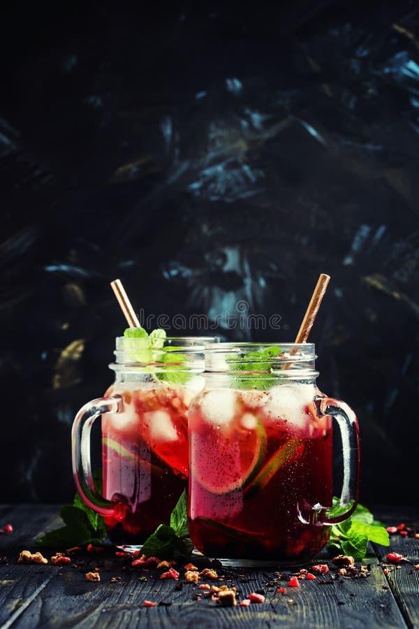 Tè con l'ibisco, la frutta, la menta ed il ghiaccio, fuoco selettivo fotografie stock