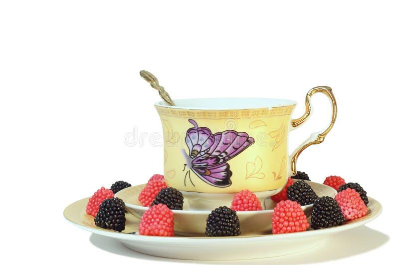 Tè con la marmellata d'arance della frutta immagine stock libera da diritti
