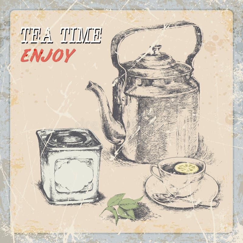 Tè d'annata dell'etichetta di tiraggio della mano vecchio bollitore un la tazza una scatola di tè, foglie di tè royalty illustrazione gratis