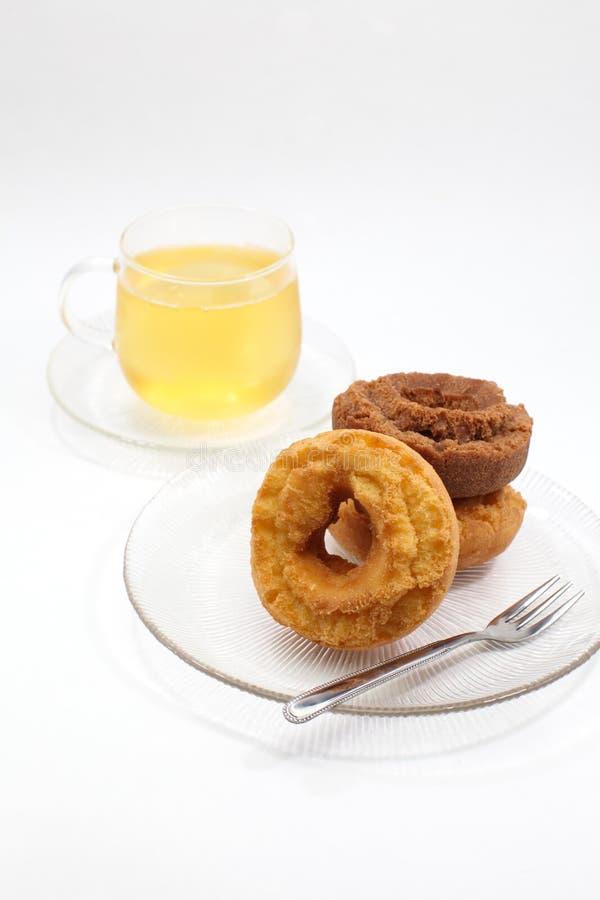 Tè del limone e della ciambella fotografia stock