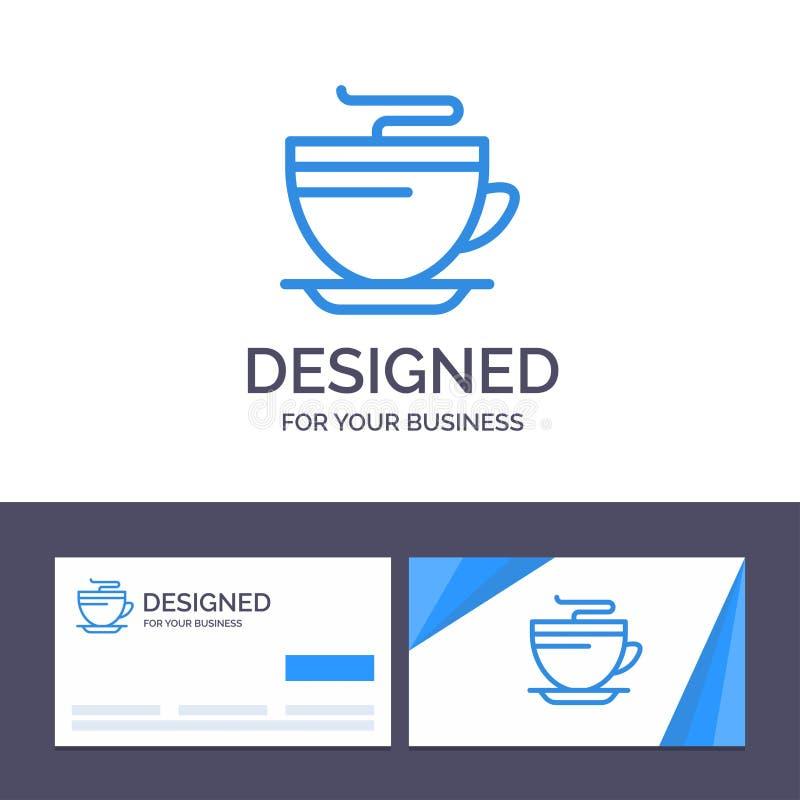 Tè del modello creativo di logo e del biglietto da visita, caffè, tazza, illustrazione di pulizia di vettore royalty illustrazione gratis