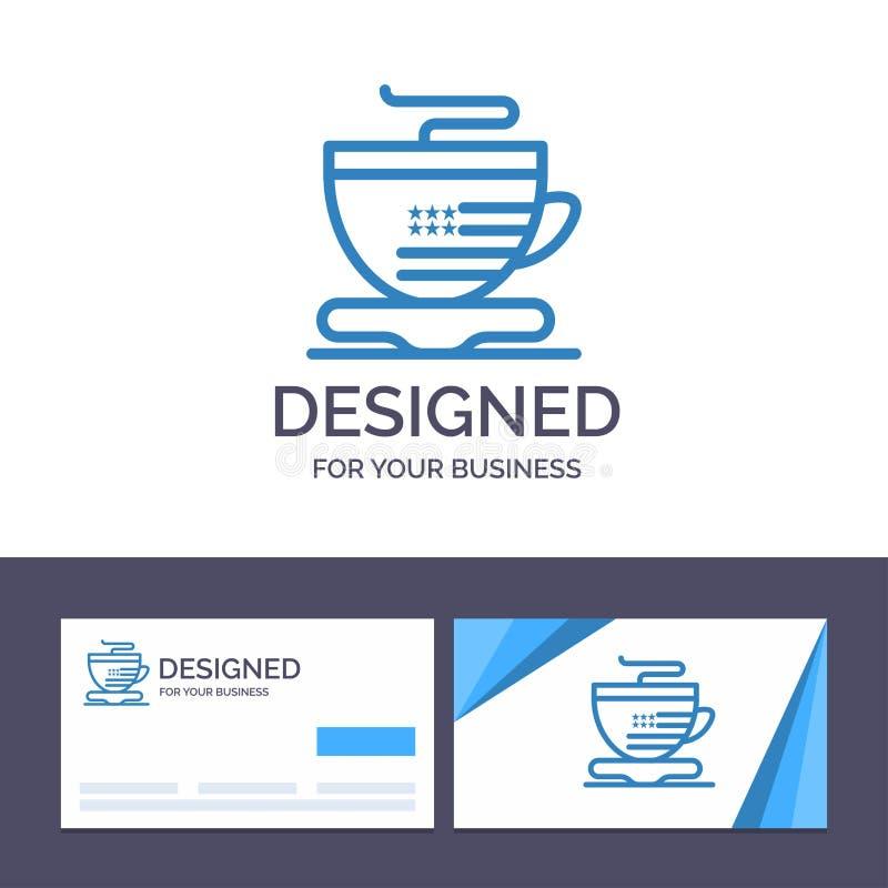 Tè del modello creativo di logo e del biglietto da visita, tazza, caffè, illustrazione di vettore degli S.U.A. illustrazione vettoriale