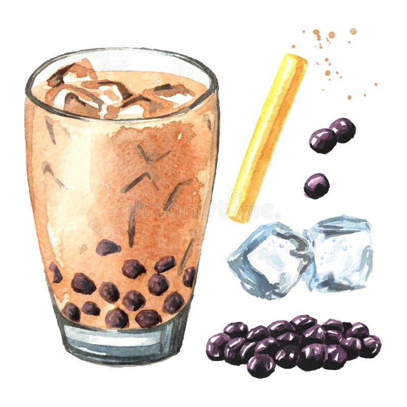 Tè della bolla del latte di Taiwan con l'insieme della perla e del cubetto di ghiaccio della tapioca Concetto dell'alimento illus illustrazione vettoriale