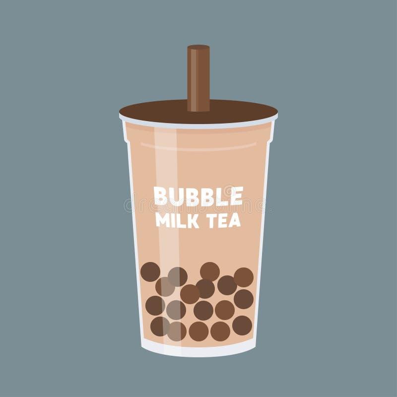 Tè della bolla o illustrazione di vettore del tè del latte della perla illustrazione vettoriale