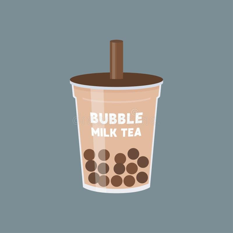 Tè della bolla o illustrazione di vettore del tè del latte della perla illustrazione di stock