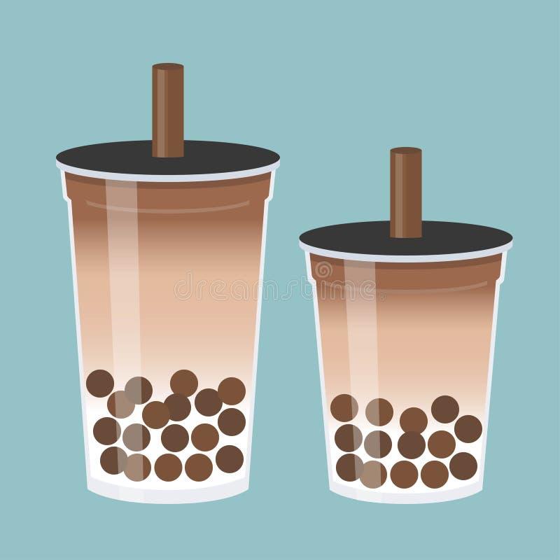 Tè della bolla o illustrazione di vettore del tè del latte della perla royalty illustrazione gratis