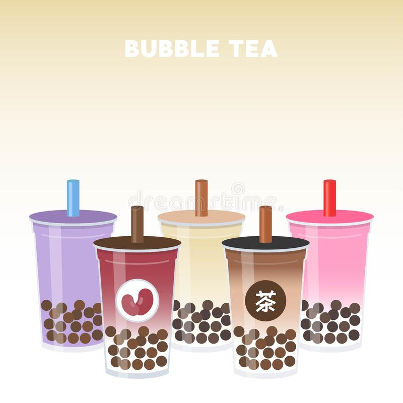 Tè della bolla o illustrazione di vettore dell'insieme di tè del latte della perla illustrazione di stock