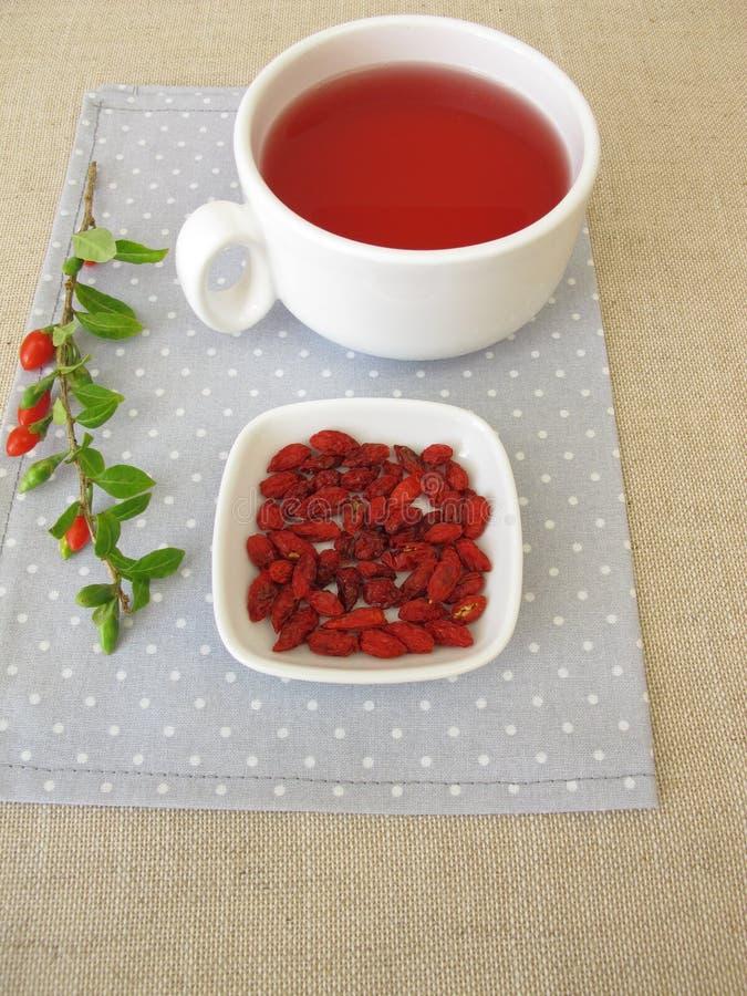Tè della frutta con le bacche secche di goji immagini stock libere da diritti