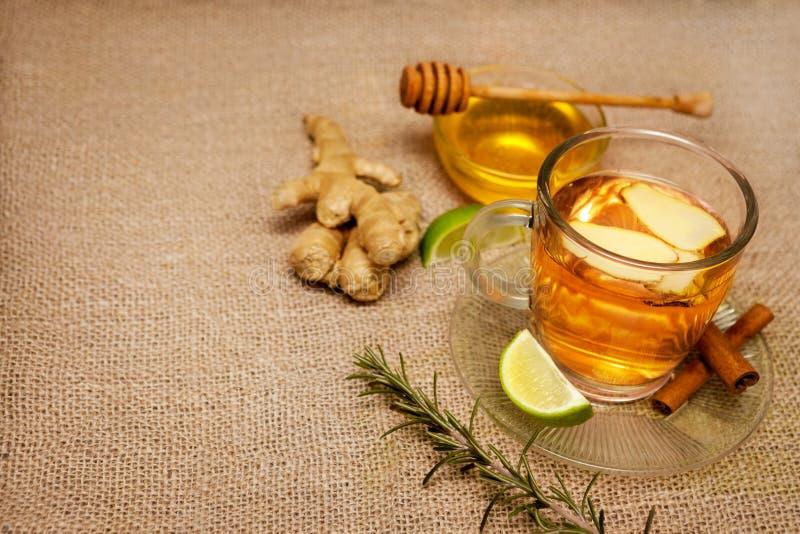 Tè dello zenzero con i rosmarini ed il miele fotografie stock