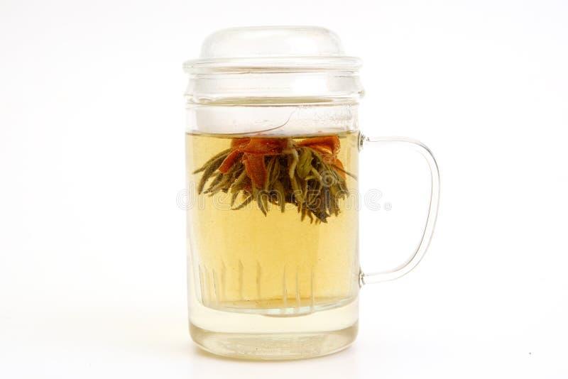 Tè di erbe con il fiore del tè in tazza di vetro fotografie stock libere da diritti