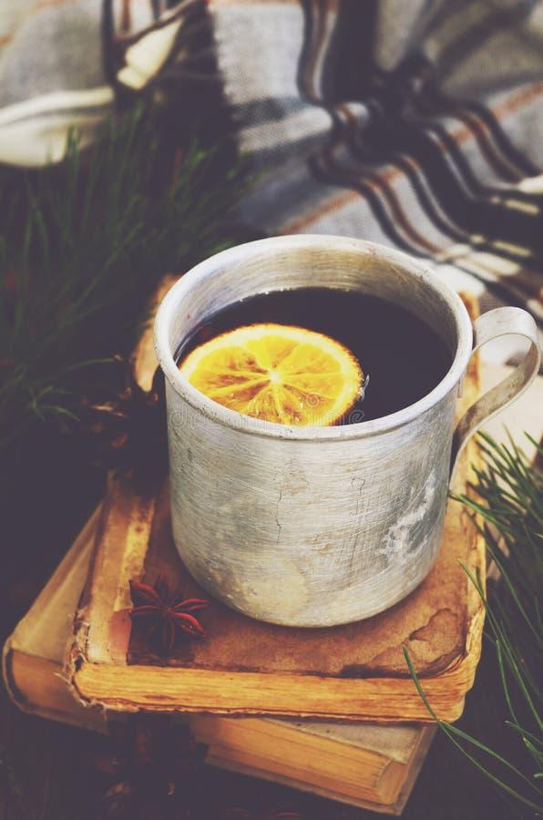 Tè di riscaldamento con il limone in tazza del metallo, libri e plaid controllato fotografie stock libere da diritti