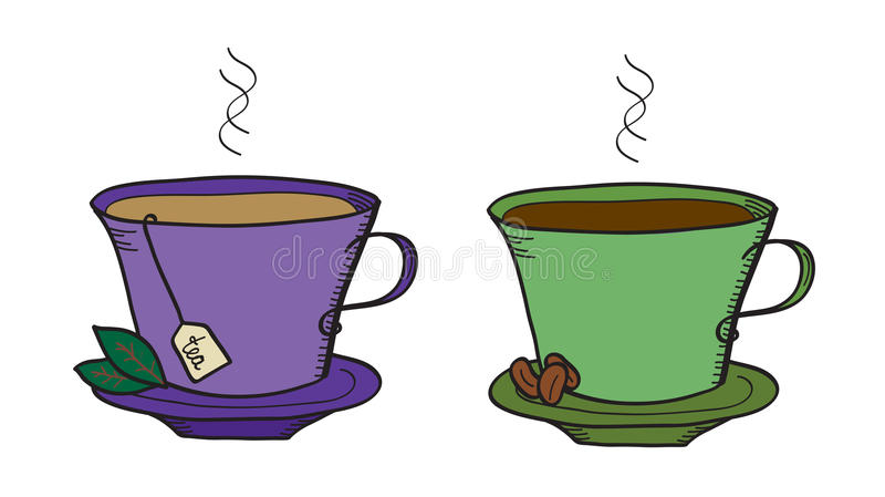 Tè e caffè illustrazione di stock