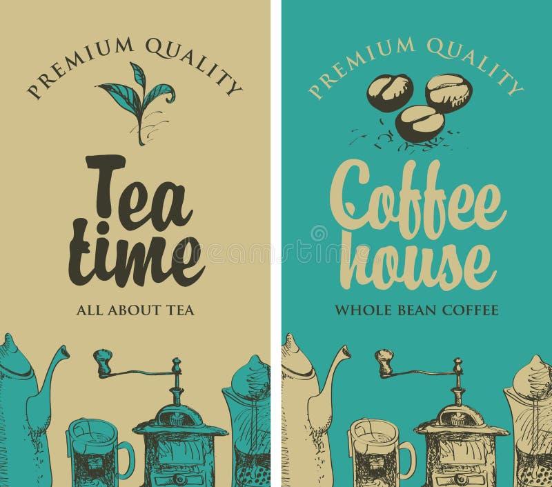 Tè e caffè con le immagini dell'attrezzatura della cucina illustrazione vettoriale
