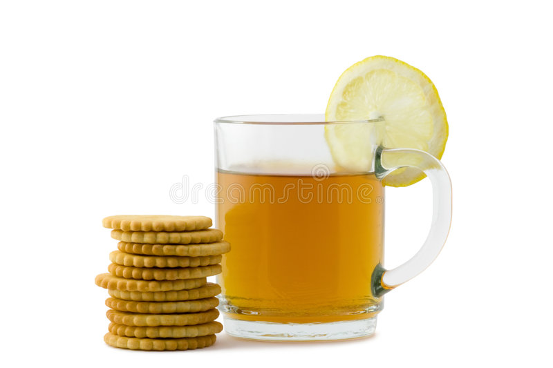 Tè e cracker fotografia stock libera da diritti