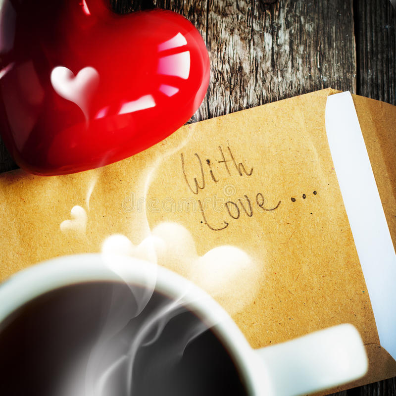 Tè e messaggio di mattina Con affetto immagini stock