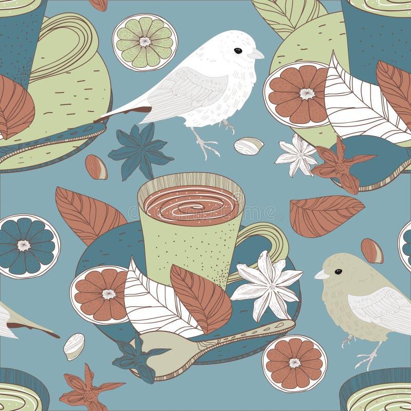 Tè ed uccelli illustrazione di stock