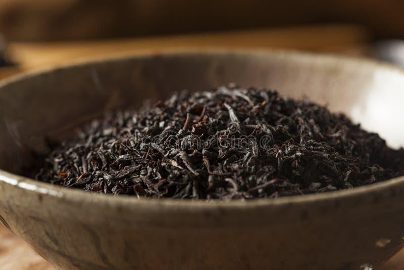 Tè nero asciutto dell'a fogli staccabili fotografia stock