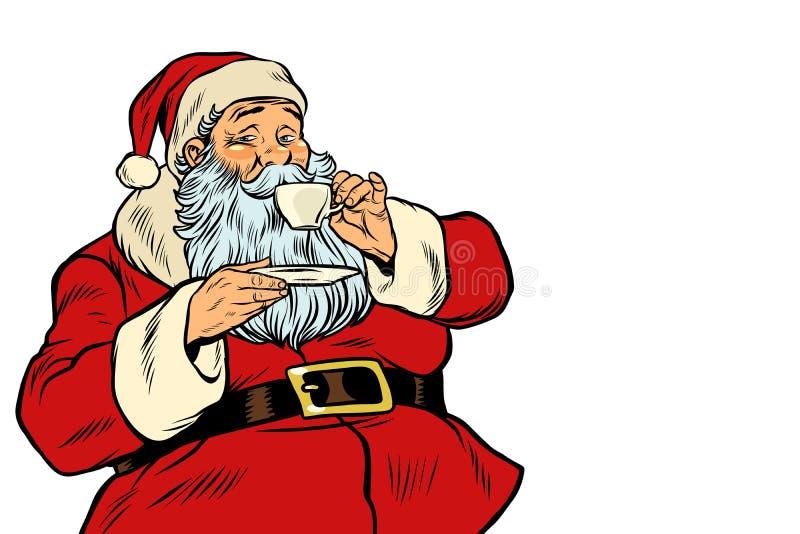 Tè o caffè bevente di Santa Claus isolato su fondo bianco illustrazione vettoriale
