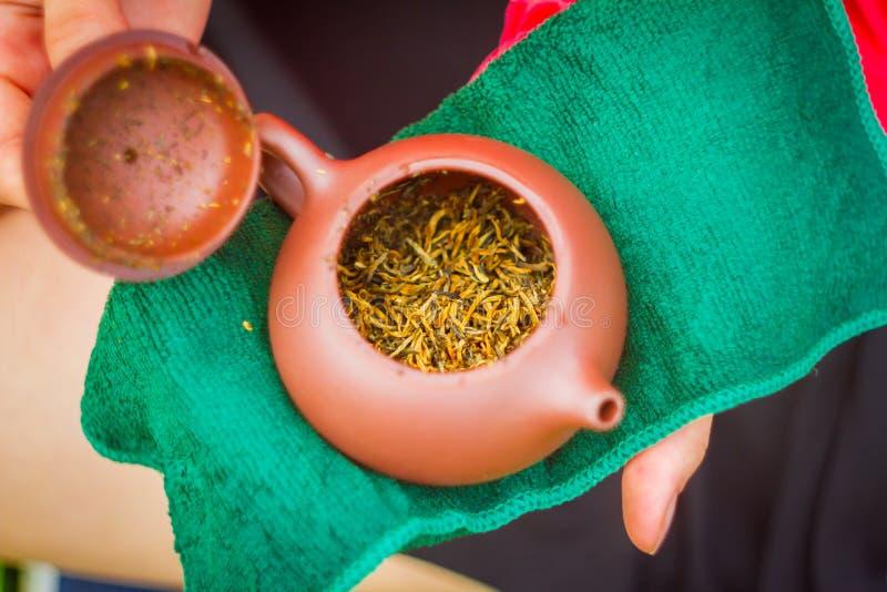 Tè rosso in teiera fotografia stock