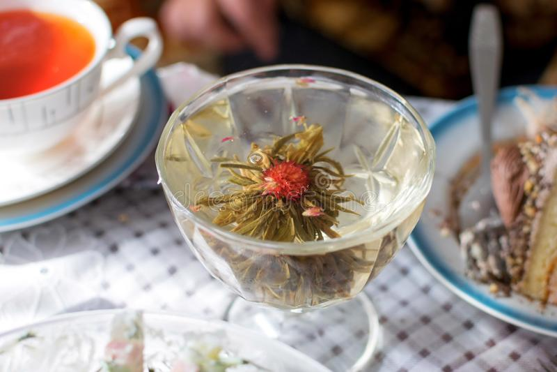Tè verde bevente in vetro trasparente con il fiore fotografia stock libera da diritti