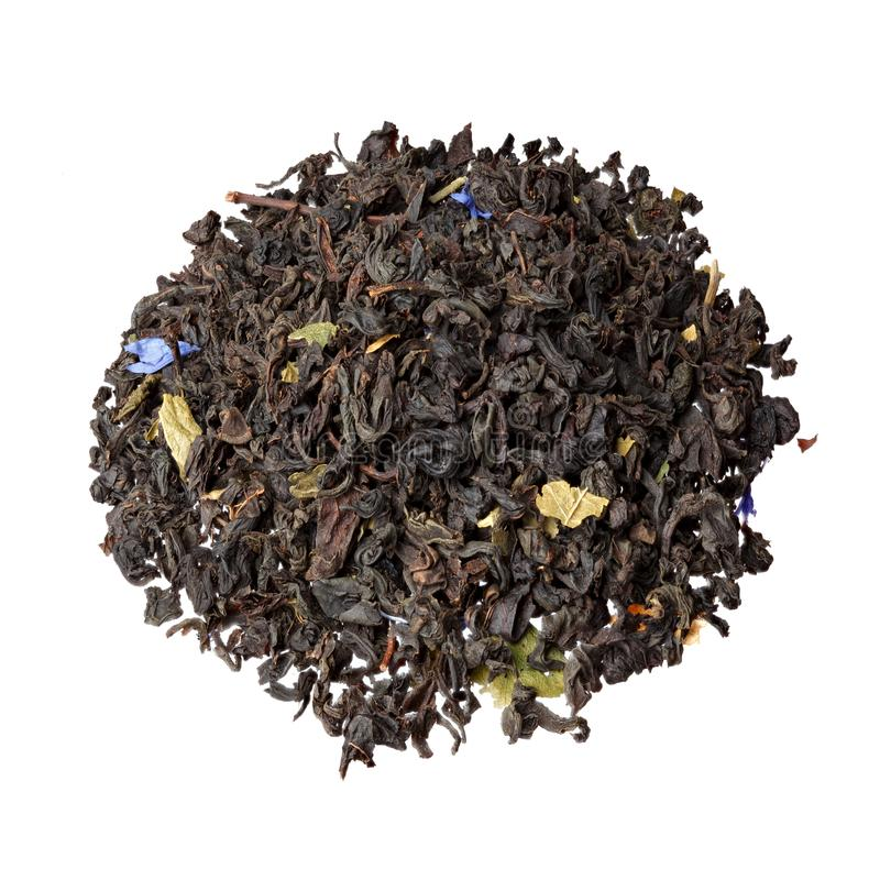 Tè verde con le more ed i mirtilli, petali a del fiordaliso fotografia stock