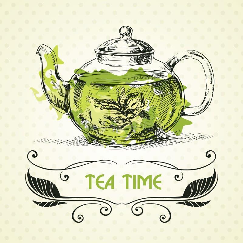 Tè verde della teiera royalty illustrazione gratis