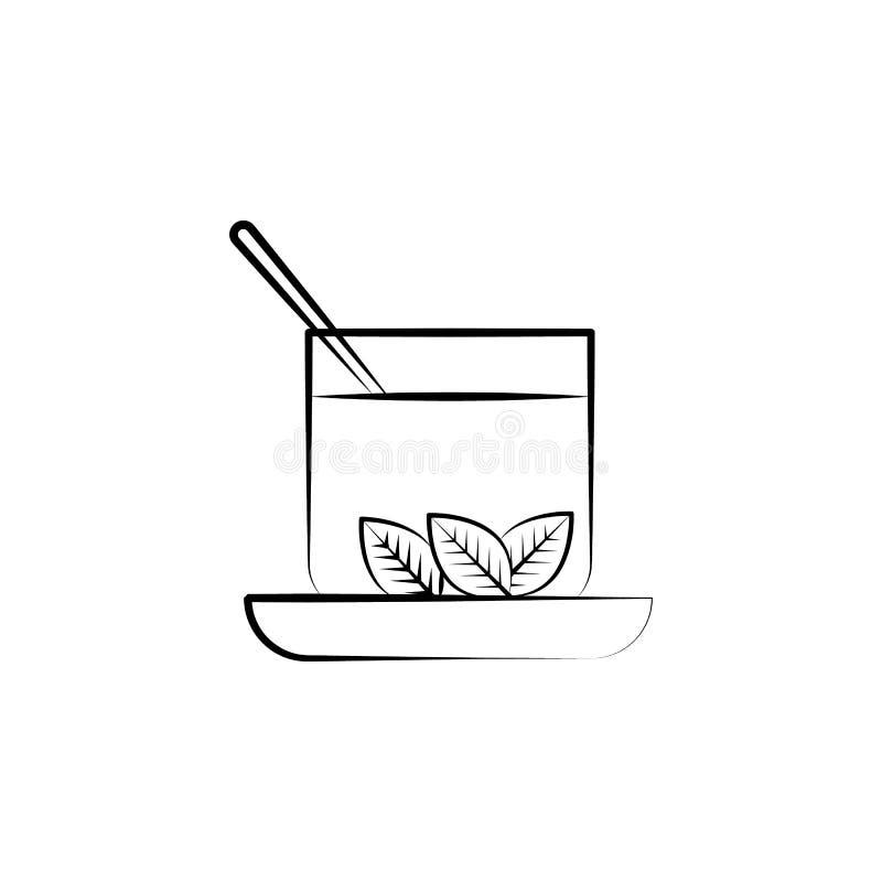Tè verde, icona della tisana Elemento dell'icona della medicina alternativa per i apps mobili di web e di concetto Linea sottile  illustrazione di stock