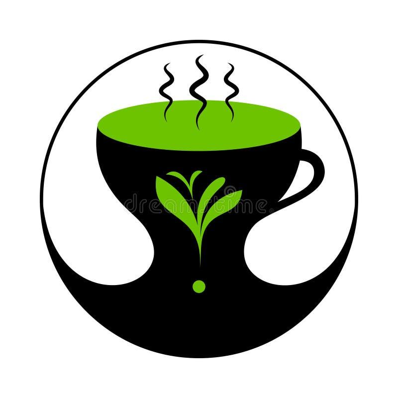Tè verde o Herb Tea caldo in tazza con vapore illustrazione vettoriale