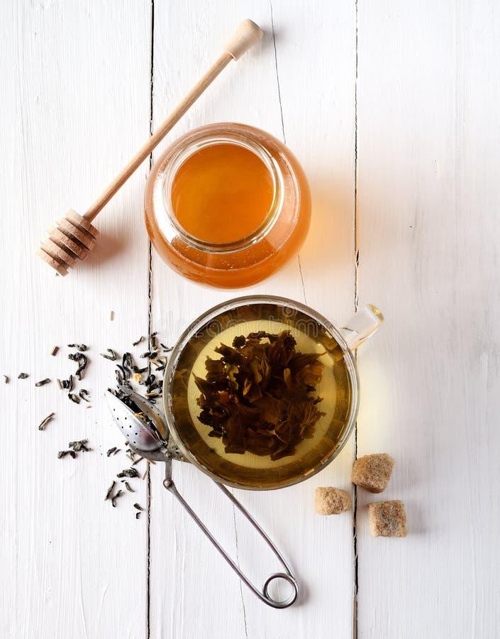 Tè verde in un piatto, in uno zucchero, in uno zenzero ed in un miele di vetro su fondo bianco fotografia stock libera da diritti