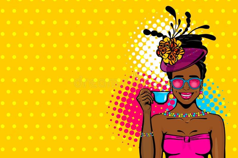 Té afro negro de la bebida del arte pop de la mujer ilustración del vector