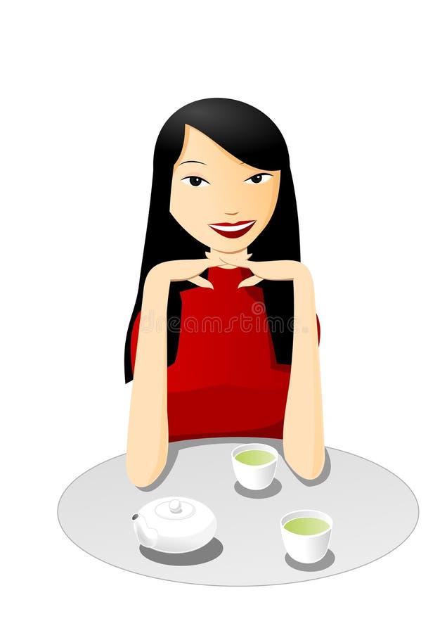 Té con la muchacha asiática stock de ilustración