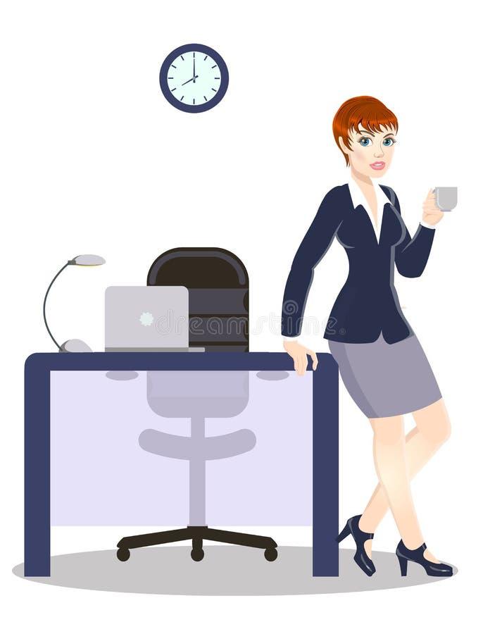 Té de consumición de la mujer de negocios, muchacha hermosa en la oficina stock de ilustración