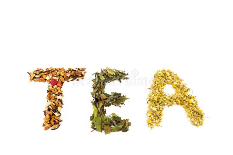 Té de la palabra hecho de diversa especie del té foto de archivo