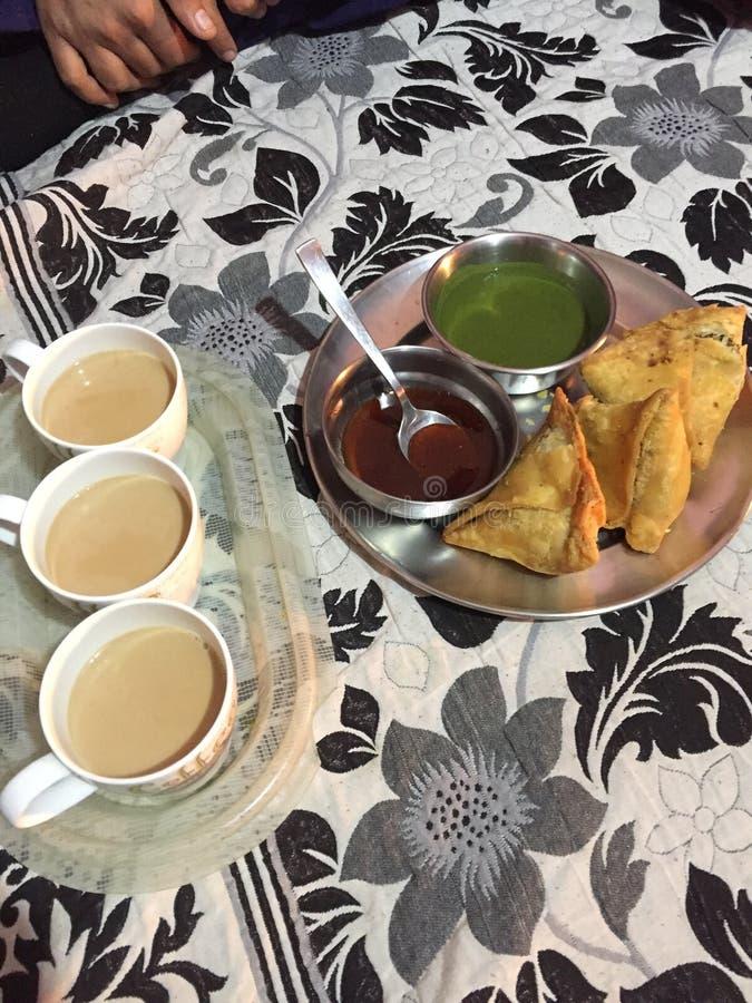 té de los bocados indios y samosa caliente con las mentas y magnífico en gusto fotos de archivo libres de regalías