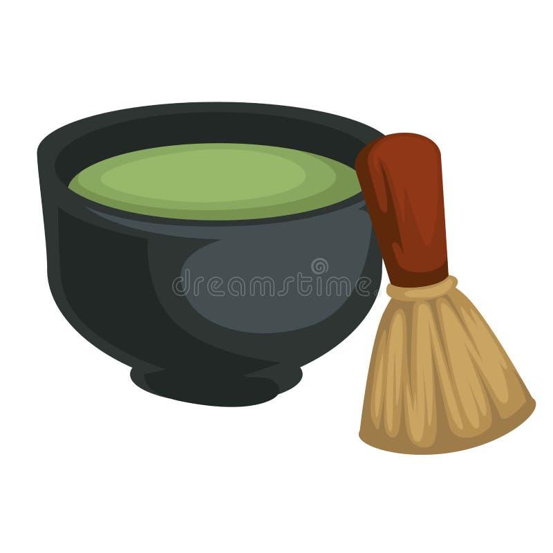 Té de Matcha en bebida japonesa del polvo del cuenco y de bambú del batidor ilustración del vector