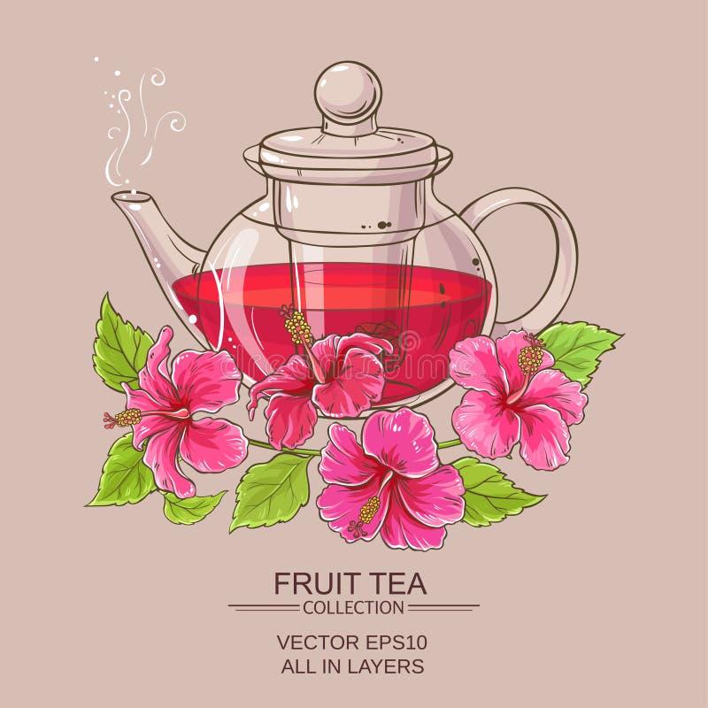 té del hibisco en tetera ilustración del vector