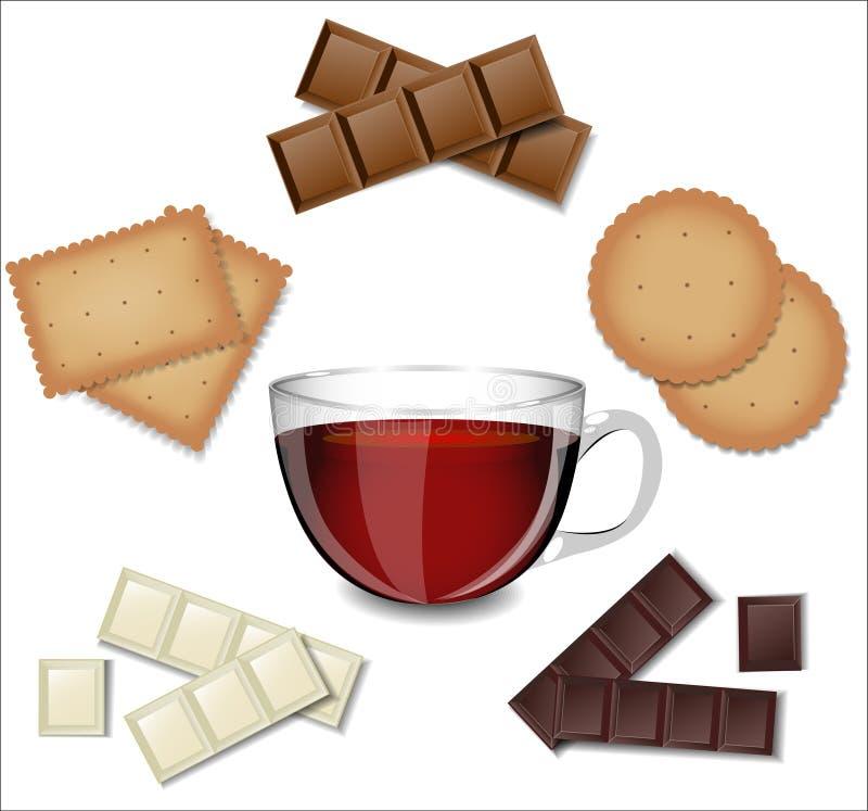 Té en la taza de cristal con los dulces ilustración del vector