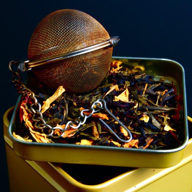 Té fresco con el infuser del té foto de archivo
