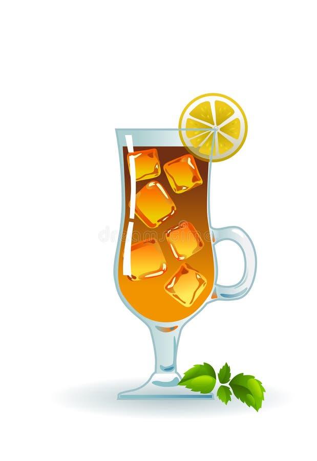 Té helado con el limón y la menta. stock de ilustración