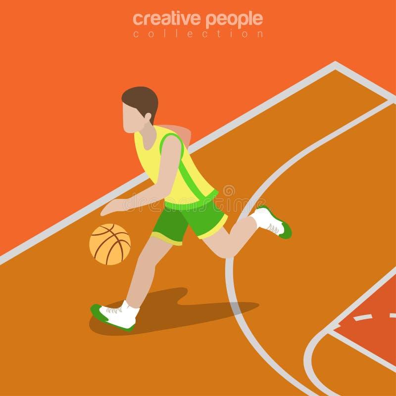 Té isométrico plano del vector del jugador del ataque del baloncesto stock de ilustración