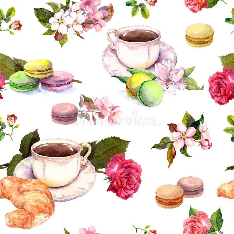 Té, modelo del café - las flores, cruasán, taza de té, macarrones se apelmazan watercolor inconsútil stock de ilustración