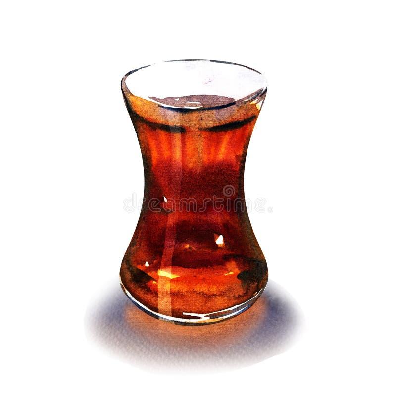 Té negro turco caliente en el vidrio tradicional, bebida aromática turca, aislada, ejemplo exhausto de la acuarela de la mano enc ilustración del vector