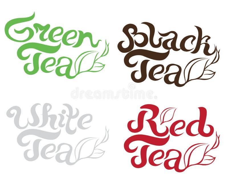 Té negro, té verde, té blanco, escritura hermosa de las letras del té rojo para las postales, carteles de la bandera, recuerdos,  libre illustration