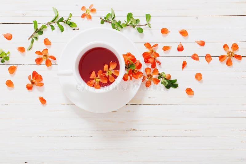 Té rojo con las flores en fondo de madera fotografía de archivo