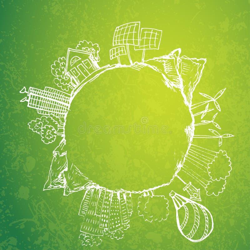 Té verde con garabatos de la ecología del círculo Elementos bosquejados del eco con la taza de té verde stock de ilustración