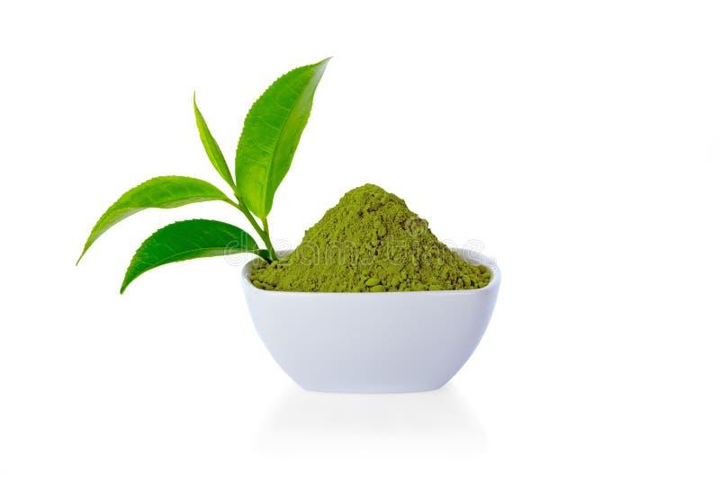 Té verde del polvo y hoja de té del verde imagen de archivo