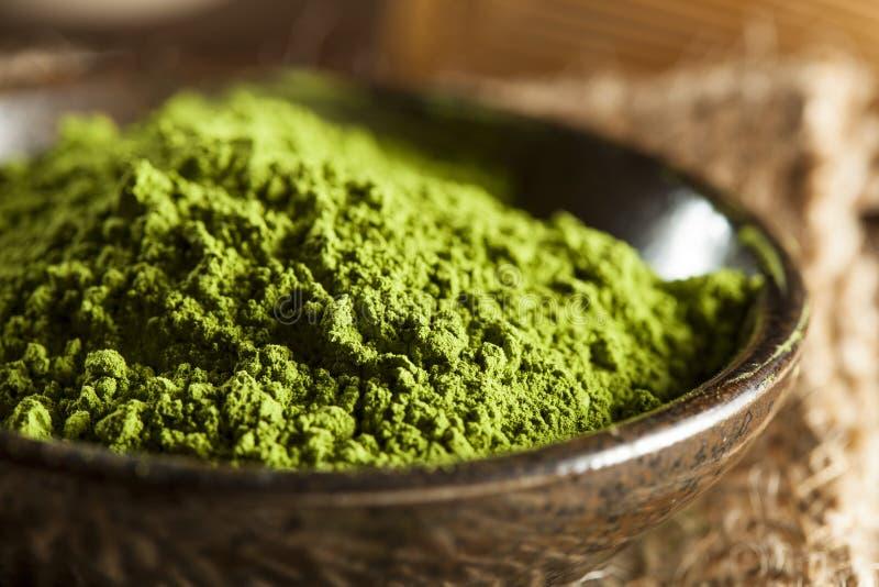 Té verde orgánico crudo de Matcha imágenes de archivo libres de regalías
